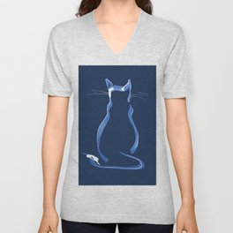 Sitting Cat from behind in Blue Unisex V-Neck
