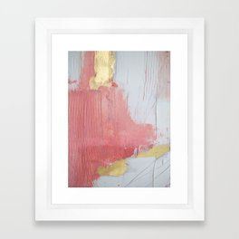 Melody: a pretty minimal abstract painting in gold pink and white by Alyssa Hamilton Art Framed Art Print