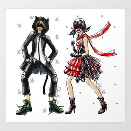Ladybug and Cat Noir Inspired Fashion Illustration Art Print
