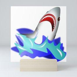 Shark attack wave danger dangerous Mini Art Print