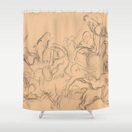 battle sketch Shower Curtain