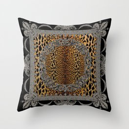 Baroque Leopard Scarf Throw Pillow