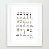 wine Framed Art Prints featuring Wine by emi ito illustration