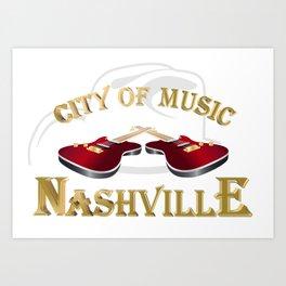Nashville. City of music Art Print