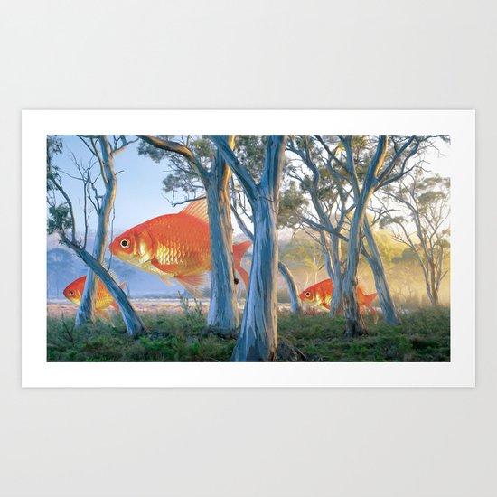 grazing goldfish Art Print