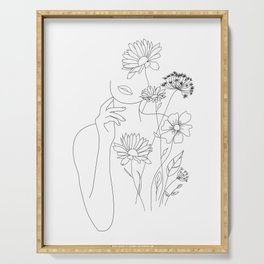 Minimal Line Art Woman with Flowers III Serving Tray