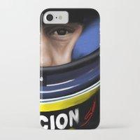 senna iPhone & iPod Cases featuring Senna Helmet Portrait by Borja Sanz