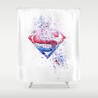 superman Shower Curtains featuring Superman by emegi