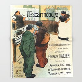 L'Escarmouche Vintage French bar scene Throw Blanket