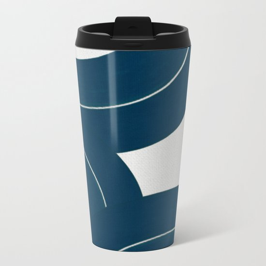 Waves on White Sand Metal Travel Mug