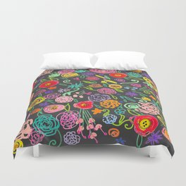 Floral Doodle in Bright Multicolor on Charcoal Background Duvet Cover