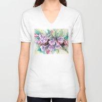 virginia V-neck T-shirts featuring virginia bluebells by Beth Jorgensen