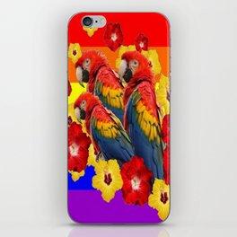 TROPICAL RAINBOW ART MACAWS & RED YELLOW HIBISCUS iPhone Skin