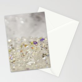 White Crystals Bokeh Stationery Cards