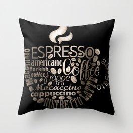 Espresso Typography Throw Pillow