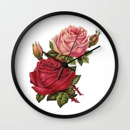 Roses Are Red And Pink... Wall Clock