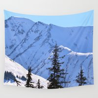 skiing Wall Tapestries featuring Back-Country Skiing  - V by Alaskan Momma Bear