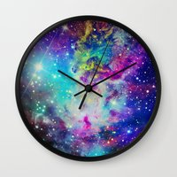 fox Wall Clocks featuring Fox Nebula by Starstuff