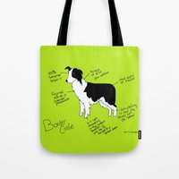 border collie Tote Bags featuring Border Collie by Lindsay Beth