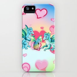 Lots of hearts and a cartoon family of dragons iPhone Case