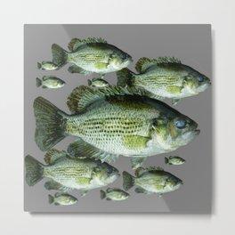 SCHOOL OF GREEN FISH  IN GREY Metal Print