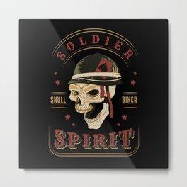 Soldier skull biker spirit 2020 biker gifts Metal Print