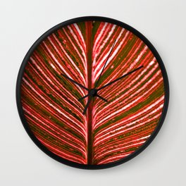 Feather Leaf in Red Wall Clock