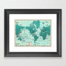 World Map in Teal Framed Art Print