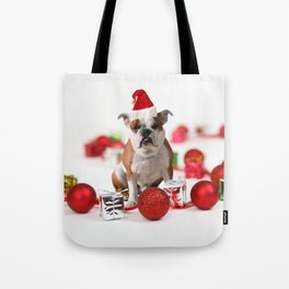 Bulldog Christmas Gift Box Ornaments Red Santa Hat Tote Bag