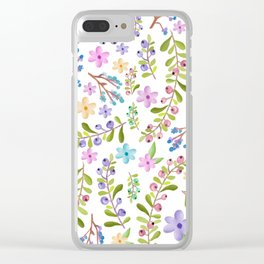 Pastel twigs floral waterolor pattern Clear iPhone Case