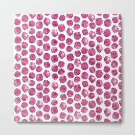 Magenta Watercolor Polka Dots Metal Print