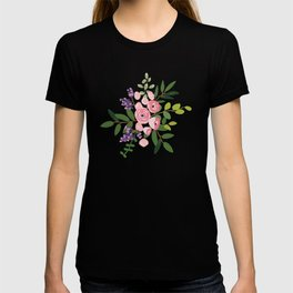 Pink roses bouquets with greenery on the striped background T-shirt