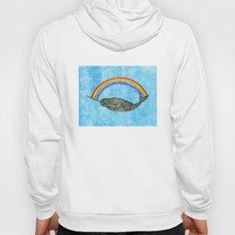 Narwhale Rainbow Blue Ocean Waves Hoody