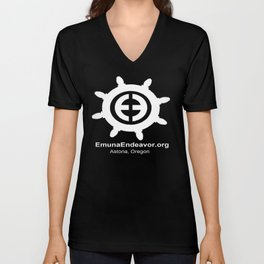 Ship Wheel Logo - White on Black Unisex V-Neck
