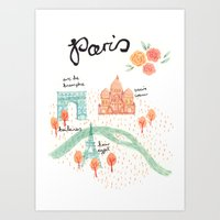 paris map Art Prints featuring Paris Map by Emma Block