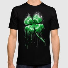 Four Leaf Clover Melting Luck Black Mens Fitted Tee SMALL