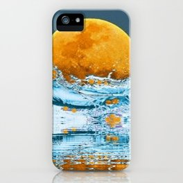 FALLING MOON OCEAN SCI-FI ILLUSION iPhone Case