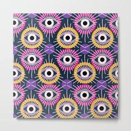 All Seeing Eye Pattern in Navy Metal Print
