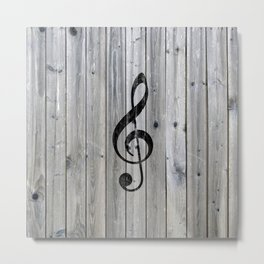 Vintage black music note Treble Clef gray wood Metal Print