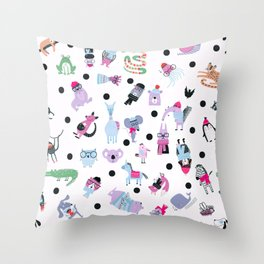 Cute Silly Wild Animals Hipster Animal Pattern Purple Throw Pillow