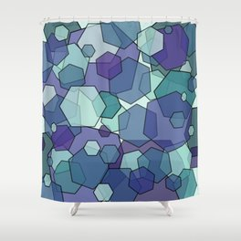 Converging Hexes - teal and purple Shower Curtain