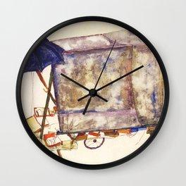 Egon Schiele - Street cart (new editing) Wall Clock
