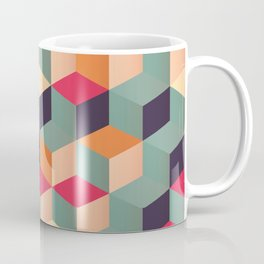 3d Cube Geometric Abstract Pastel Squares Pattern  Coffee Mug