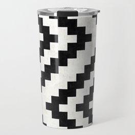 Urban Tribal Pattern No.18 - Aztec - Black and White Concrete Travel Mug