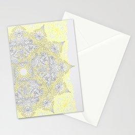 Sunny Doodle Mandala in Yellow & Grey Stationery Cards