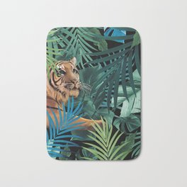 Tiger in the Jungle #1 #tropical #foliage #decor #art #society6 Bath Mat