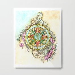 Blooming Compass Metal Print