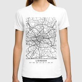 LONDON ENGLAND BLACK CITY STREET MAP ART T-shirt