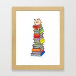 Reading Owl greeting card by Nicole Janes Framed Art Print