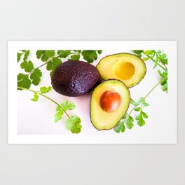 Avocado & fresh coriander Art Print